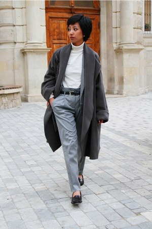 black Mango loafers - heather gray oversized Kenzo coat