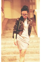 heather gray Zara dress - dark brown leather Chanel jacket