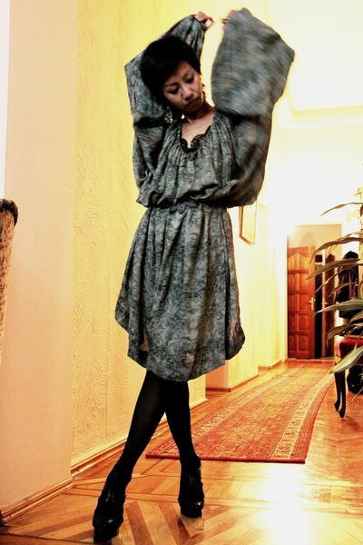 black peep toe Mango shoes - black net-ish asoscom tights - Stella McCartney