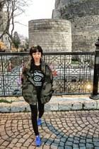 army green Zara coat - black Zara jeans - black Jack Daniels t-shirt