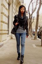 black leather H&M jacket - black lace up ankle boots - gray Mango shirt