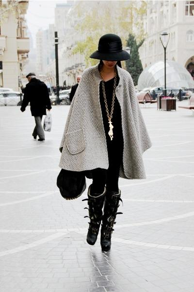 black aviator Burberry boots - heather gray cape vintage coat - black custom mad