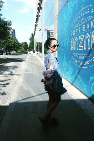 sky blue silk Stella McCartney blazer - bubble gum pig MySons bag
