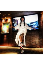 white Zara dress - maroon multi color Chanel sneakers