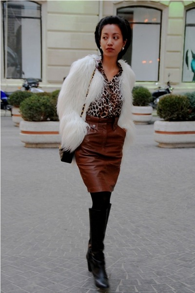 white shaggy fur Zara coat - black knee high Marc Jacobs boots
