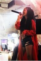 red shirt dress Zara jacket - navy diy shorts - black top diy bra