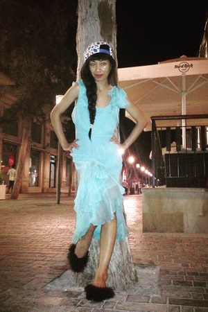 light blue ruffle silk dress