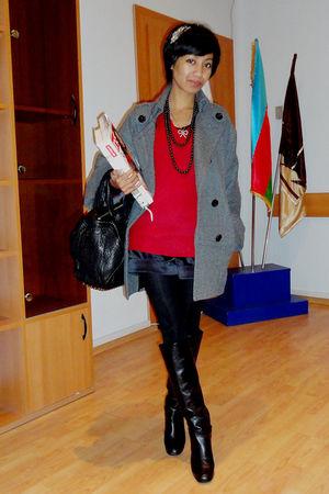 gray Mango coat - red vintage ebay - black Mango - Accessorize - black Marc Jaco