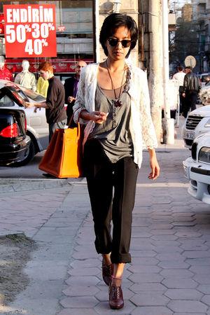 white lace asoscom jacket - black Ray Ban sunglasses - brown oxford heels H&M