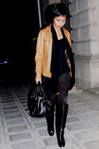 brown leather Naf Naf jacket - black Mango shirt - black sequin Mango scarf
