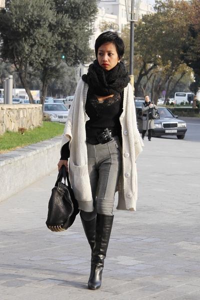 black Marc Jacobs boots - gray Mango - black lace cami Koton - gray Mango