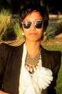 Black-zara-blazer-beige-temperley-london-blouse-brown-donna-karan-shorts-m