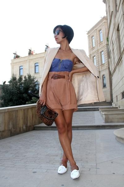beige Zara blazer - brown paperbag waist Zara shorts - black emporio armani