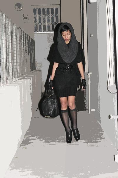 black emporio armani belt - gray asoscom - gray scarf-hood Mango