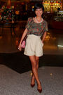 Zara-top-beige-michael-kors-shorts-white-gift-from-diddy-accessorize-bro