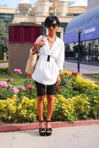 black Chanel - beige raffia bag Accessorize - white silk shirt Zara