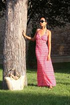 black round Sonia Rykiel sunglasses - vintage - red maxi dress Antik Batik