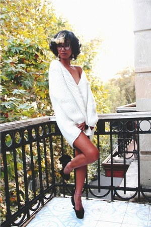 black YSL heels - white sweater - black cat eye Tom Ford glasses