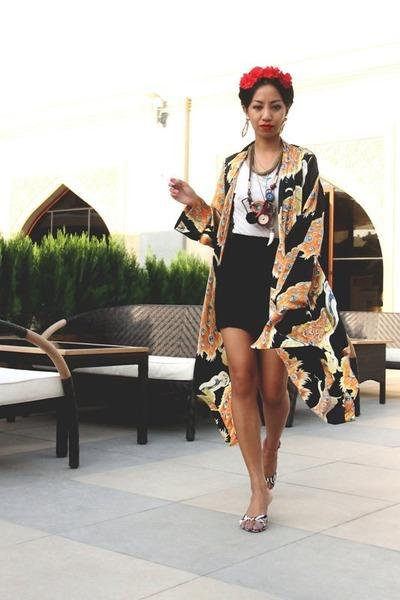 light orange silk kimono Winter Kate jacket - gold GoldPearl earrings