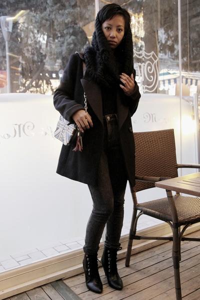 black Derek Lam coat - black Collins sweater - black lace up boots H&M