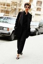 black H&M shoes - black fluffy sweater - black boyfriend Derek Lam blazer