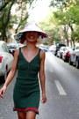 Dark-green-custom-made-dress-white-kenzo-hat