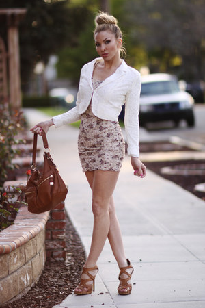 lace Forever 21 blazer - Forever 21 dress - brown leather Michael Kors bag