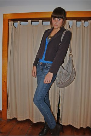 brown Forever21 boots - blue American Eagle jeans - blue Urban Outfitters top -