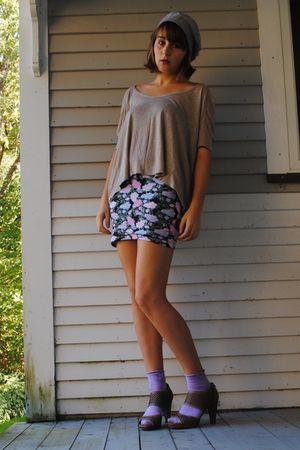 silver Forever21 hat - beige Forever21 shirt - pink Forever21 skirt - purple Thr