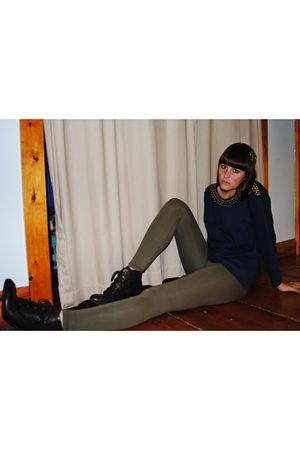 brown Forever21 boots - green H&M leggings - blue thrifted shirt - black Forever