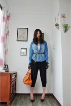 blue SLY shirt - carrot orange Hermes bag