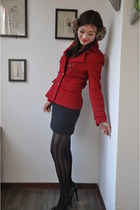 ruby red woolen jacket ebace jacket - black romwe tights - dark gray dark grey s