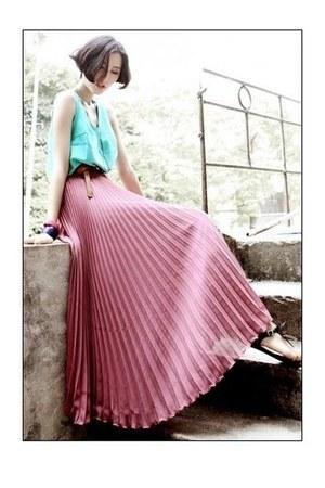 bubble gum pleated skirt romwe skirt