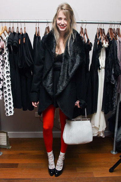 black Elizabeth & James coat - red Wolford tights - white vintage bag Whiting &