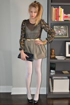 black brian atwood tights - black Rodarte for Target blouse - gold Alexander McQ