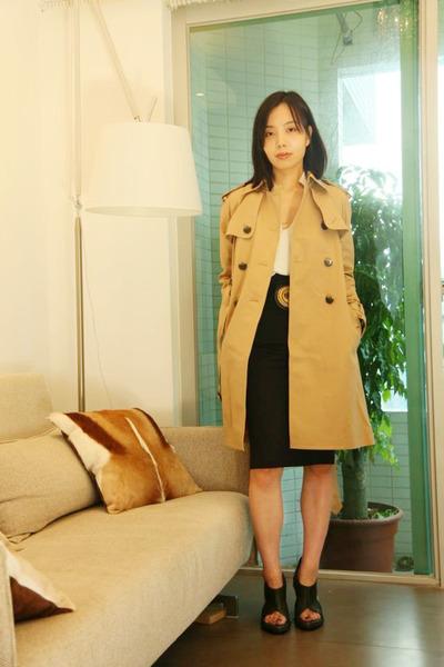 Club Monaco coat - Zara shirt - PENSIL SKIRT skirt - no brand Belt belt