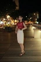 Zara skirt - silk wow top - Celine bracelet - Costume National heels