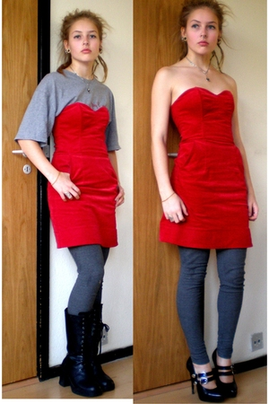 H&amp;M dress - unknown boots - One True Saxon t-shirt - Vila leggings - H&amp;M shoes