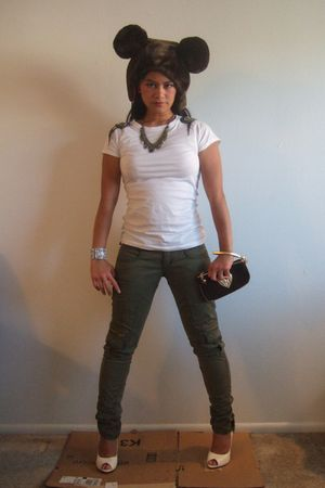 green Frankie B pants - white pink ice shirt - brown Juicy Couture purse - brown
