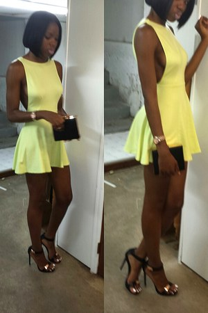 light yellow American Apparel dress - black cotton on purse - black BCBG heels