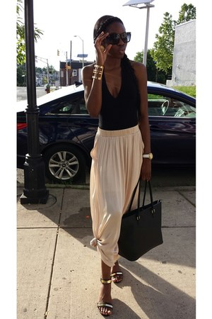 black American Apparel shirt - black H&M bag - H&M skirt - black Express sandals
