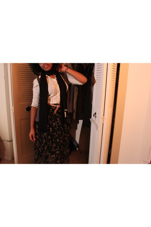 maxi skirt thrifted skirt - pale pink Forever 21 belt - thrifted vintage blouse