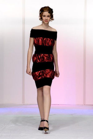 red Made by a friend dress - black unknown brand shoes