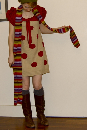 beige Pepper Tree dress - brown Jones the Bootmaker boots - black