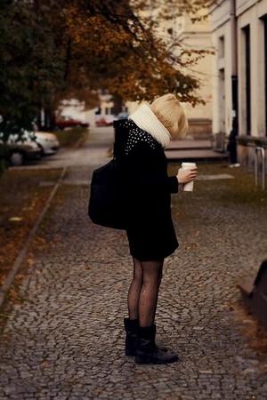black H&M coat - beige DIY boots - gray Gortz17