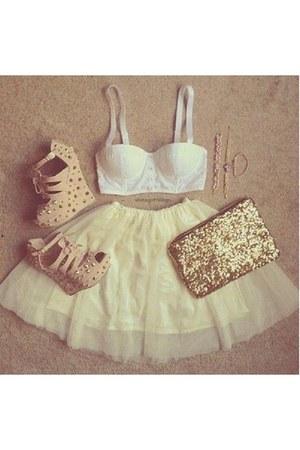 neutral platform wedges - gold sparkly purse - white bustier top