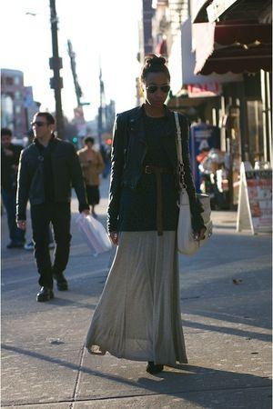 black Zara jacket - gray Forever 21 dress - white coach bag