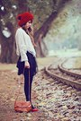 Ruby-red-sweater-hat-black-tights-burnt-orange-bag-black-chiffon-skirt