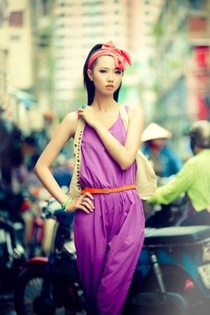 magenta bodysuit - coral scarf - orange belt