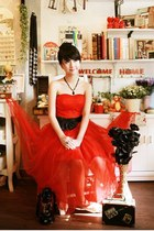 carrot orange chiffon dress - black bow tie belt - black necklace